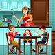 Busy Mother in the Kitchen with Her Kids - GraphicRiver Item for Sale