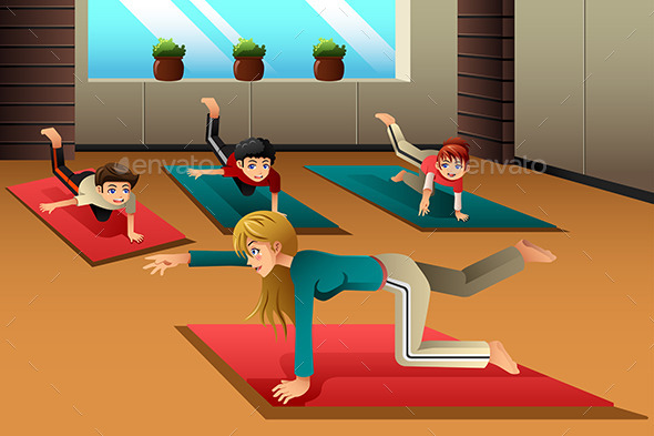 GraphicRiver Kids in a Yoga Class 10246479