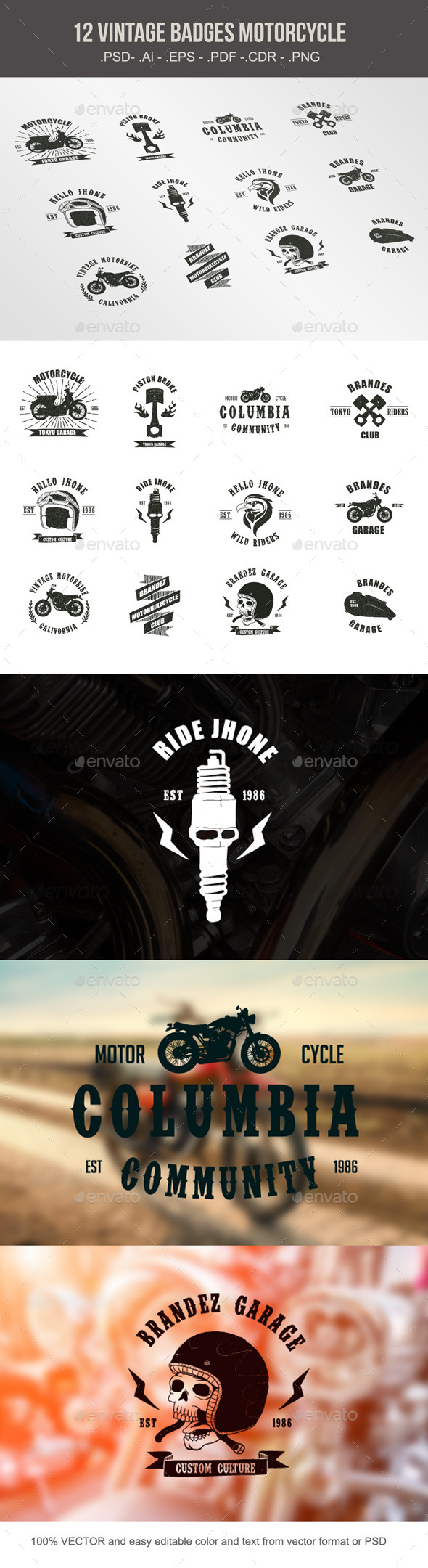 GraphicRiver Vintage Badges Motorcycle 10246480