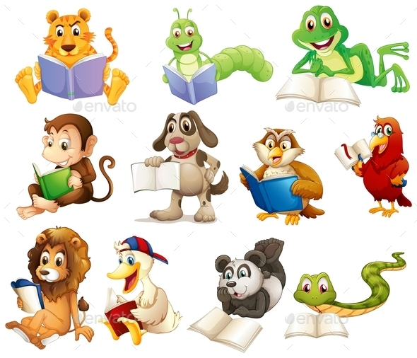 GraphicRiver Group of Animals Reading 10246492