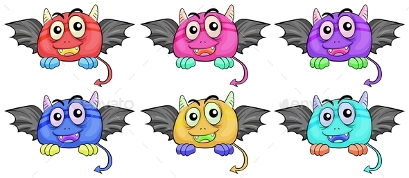 GraphicRiver Six Smiling Monster Heads with Wings 10246497