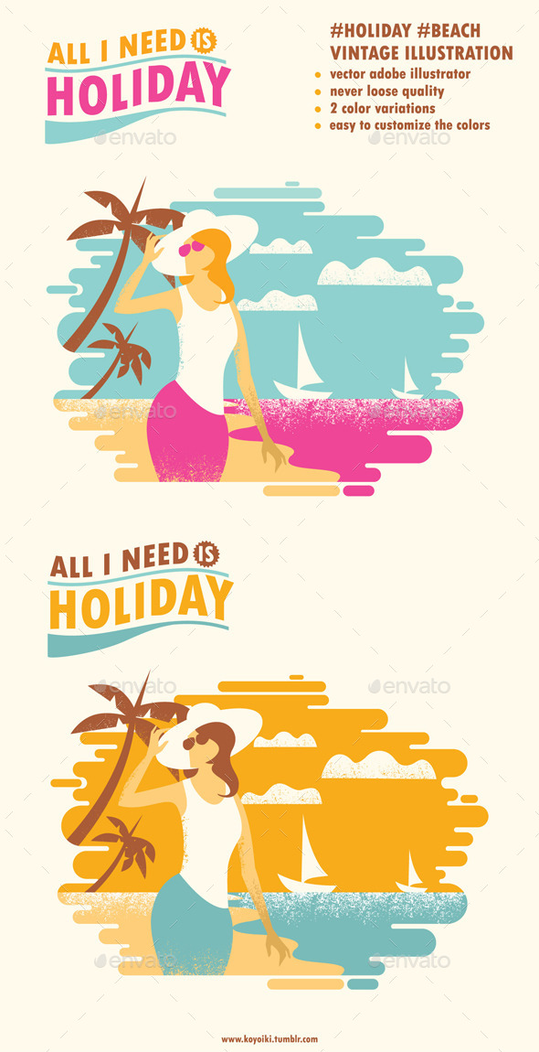 GraphicRiver Holiday Beach Illustration 10246599