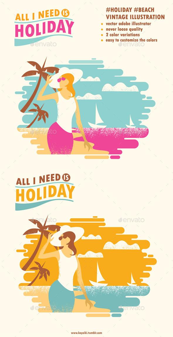 Holiday Beach Illustration