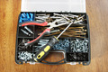 Plastic box with various screws and workiong tools - PhotoDune Item for Sale