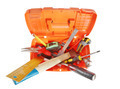 Plastic toolbox with various working tools isolated over white. View from above - PhotoDune Item for Sale