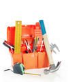 Plastic toolbox with various working tools isolated over white - PhotoDune Item for Sale