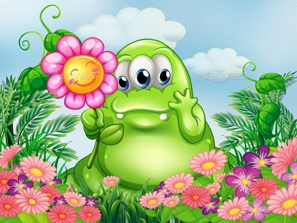 GraphicRiver Green Monster in the Garden 10246638