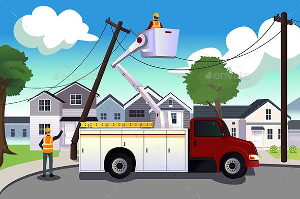 GraphicRiver Worker Fixing Broken Power Lines 10246646