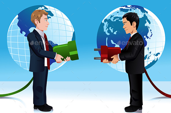 GraphicRiver Business Concept of Connecting Eastern and Western 10246650