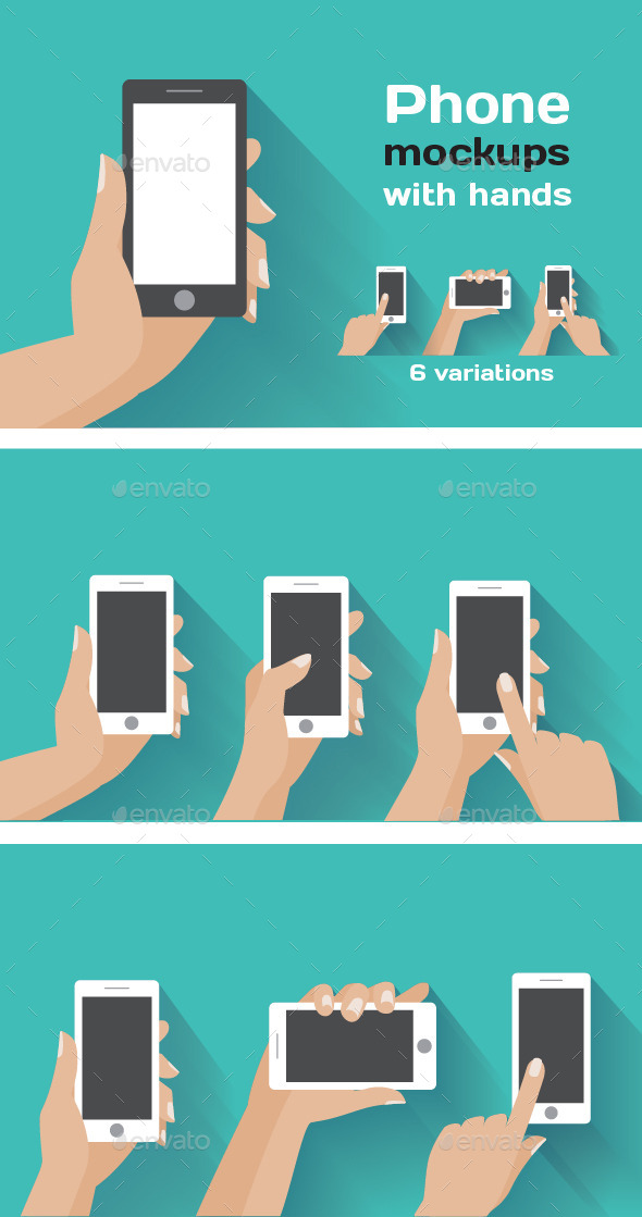 GraphicRiver Smartphone Mockups with Hands 10247014