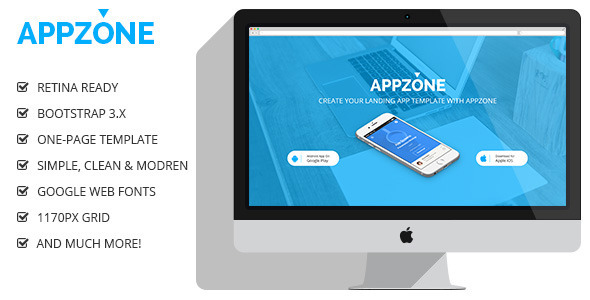 ThemeForest Appzone Bootstrap Retina App Landing Page 10133482