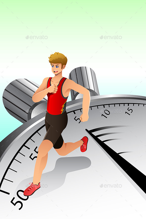GraphicRiver Man Running on Stopwatch 10247501