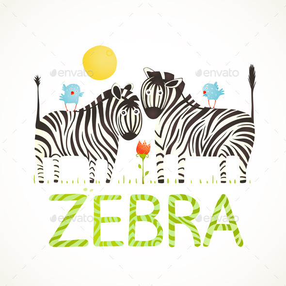 GraphicRiver African Zebra Animals and Fun Lettering Cartoon 10247512