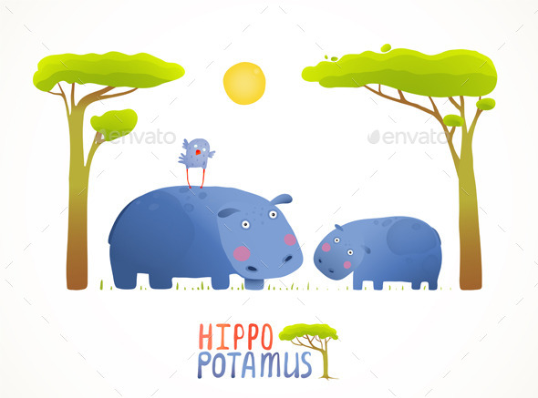 Fun Cartoon Mother and Child African Hippopotamus