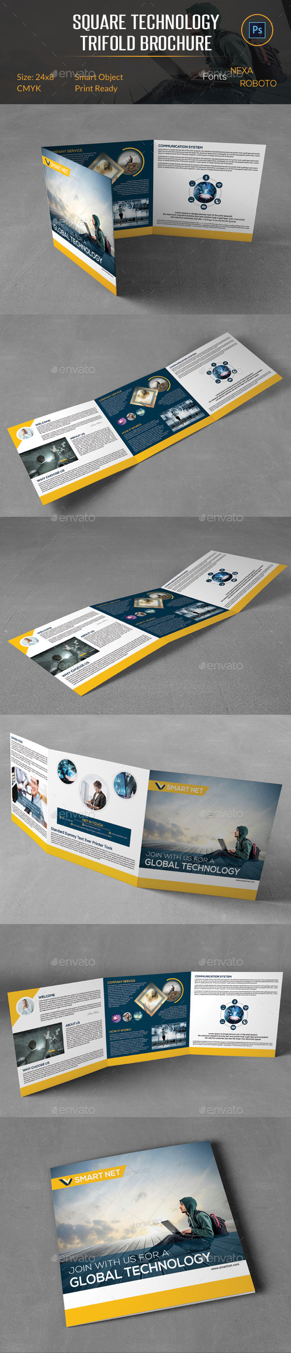 GraphicRiver Square Technology Trifold Brochure 10247634