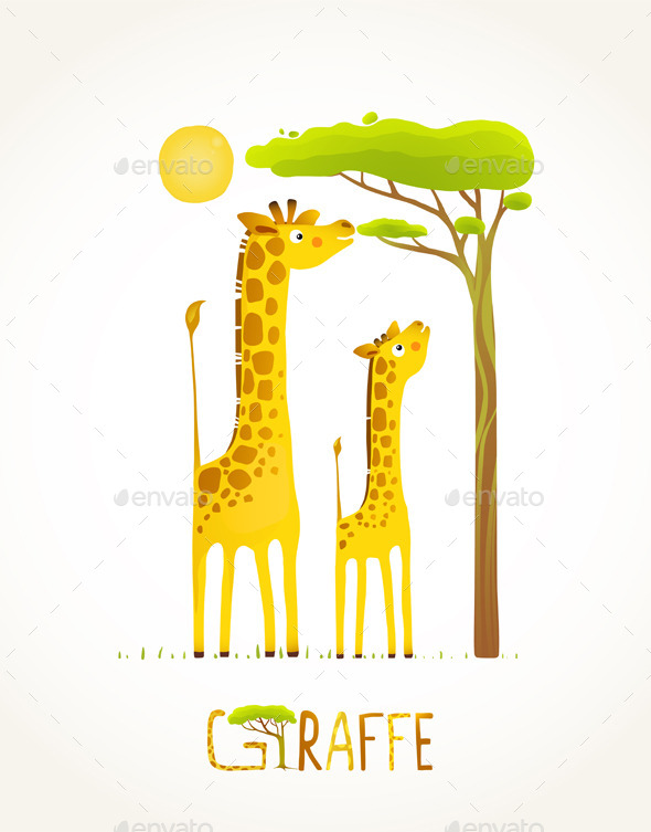 GraphicRiver Fun Cartoon African Giraffe Animals Eating Foliage 10247641