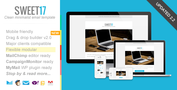Sweet17, Clean Newsletter with Template Builder - Newsletters Email Templates