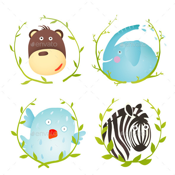 Monkey Zebra Elephant Bird Funny Cartoon Portraits