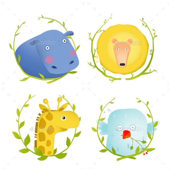 GraphicRiver African Animals Fun Cartoon Portraits with Wreath 10247649