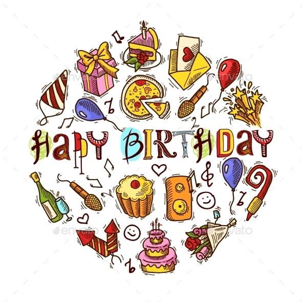 GraphicRiver Birthday Sketch Circle 10249347