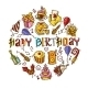 Birthday Sketch Circle - GraphicRiver Item for Sale