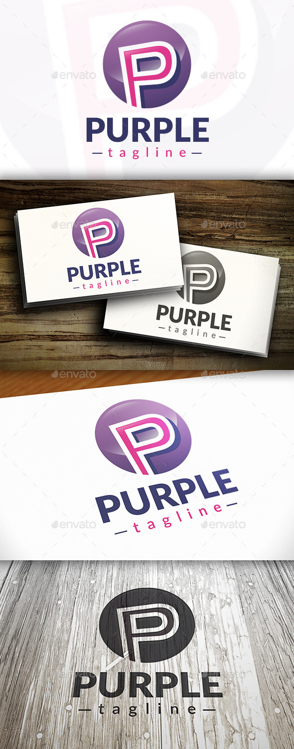 GraphicRiver Purple P Letter Logo 10249350