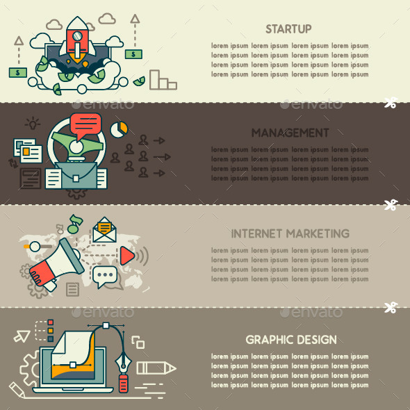 GraphicRiver Set Two of Internet Technology and Business Banner 10249428