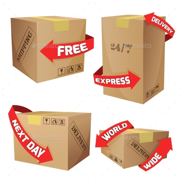 GraphicRiver Boxes With Delivery Symbols 10249433