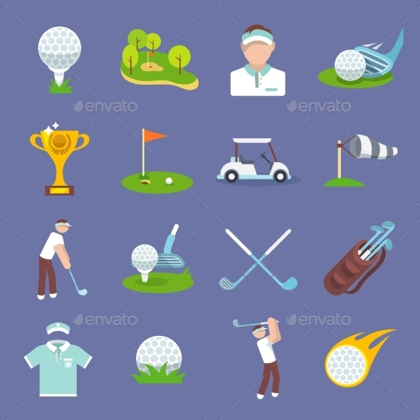 GraphicRiver Golf Icon Flat 10249435
