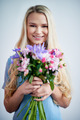 Happy woman with bunch of flowers - PhotoDune Item for Sale