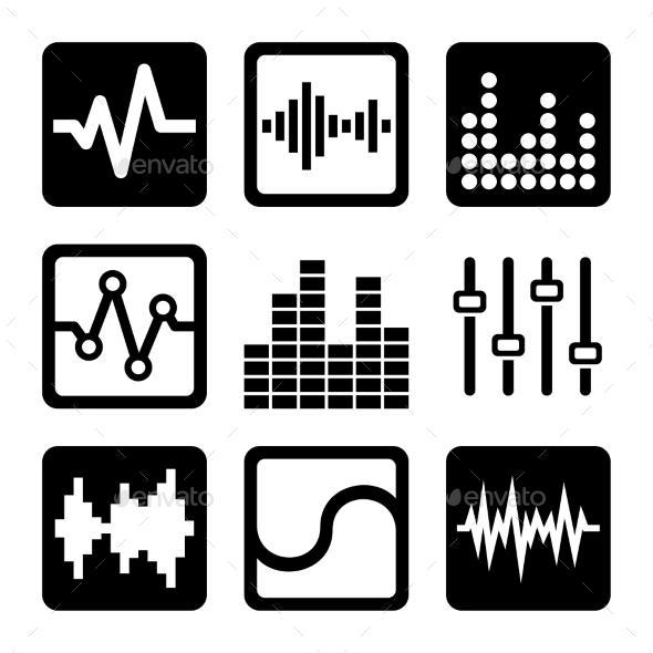 Soundwave Music Icons Set on White Background