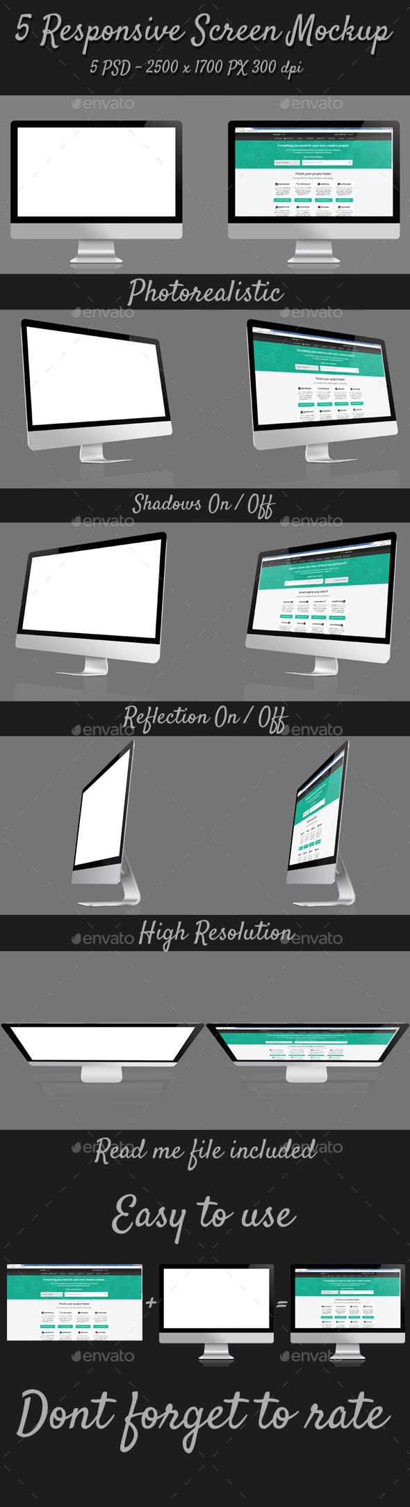 GraphicRiver 5 Responsive Screen Mockup 10250218