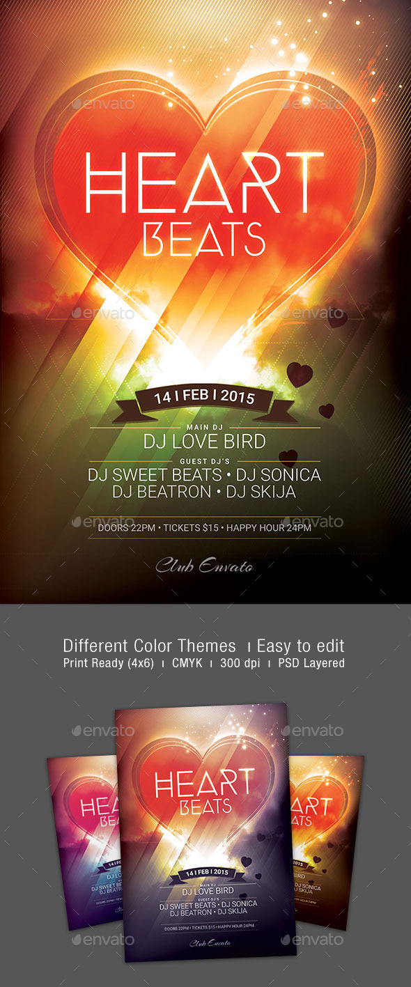 GraphicRiver Heart Beats Flyer 10250409