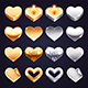Set of Vector Golden and Silver Hearts - GraphicRiver Item for Sale
