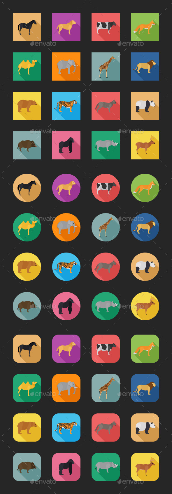 GraphicRiver Color Flat Icons Animals 10251041