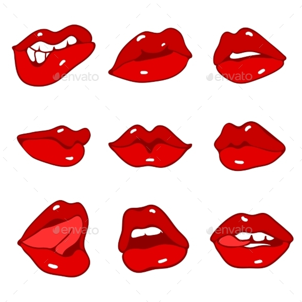GraphicRiver Set of Red Lips 10251205