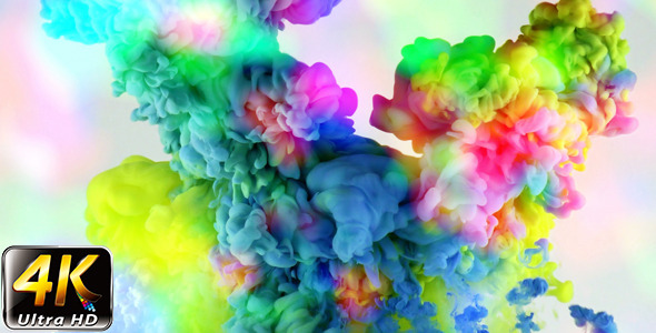 Colorful Paint Ink Drops Splash in Underwater 45