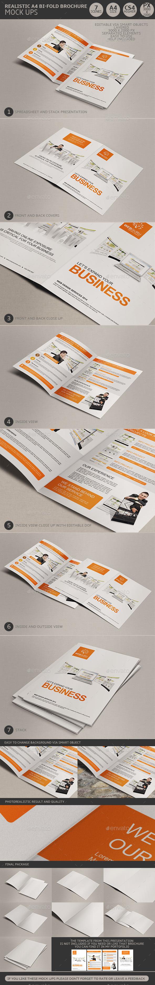 Realistic A4 Bi Fold Brochure Mock Ups