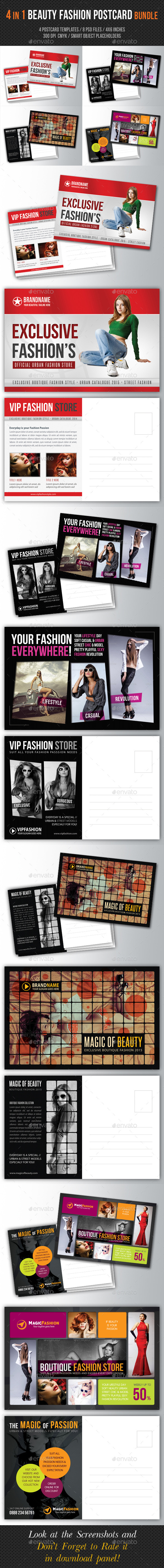 4 in 1 Fashion and Beauty Postcard Template Bundle