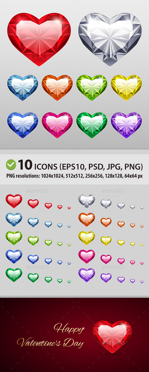GraphicRiver Vector Gem Hearts Set 10253037