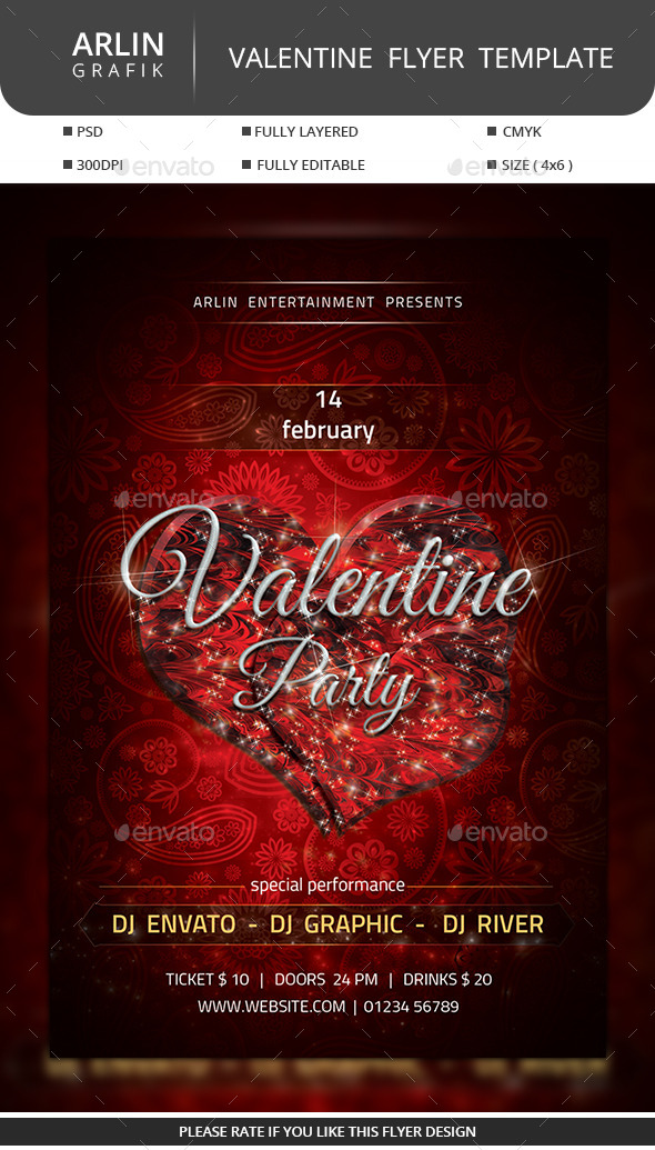 GraphicRiver Valentine Party Flyer 10041205