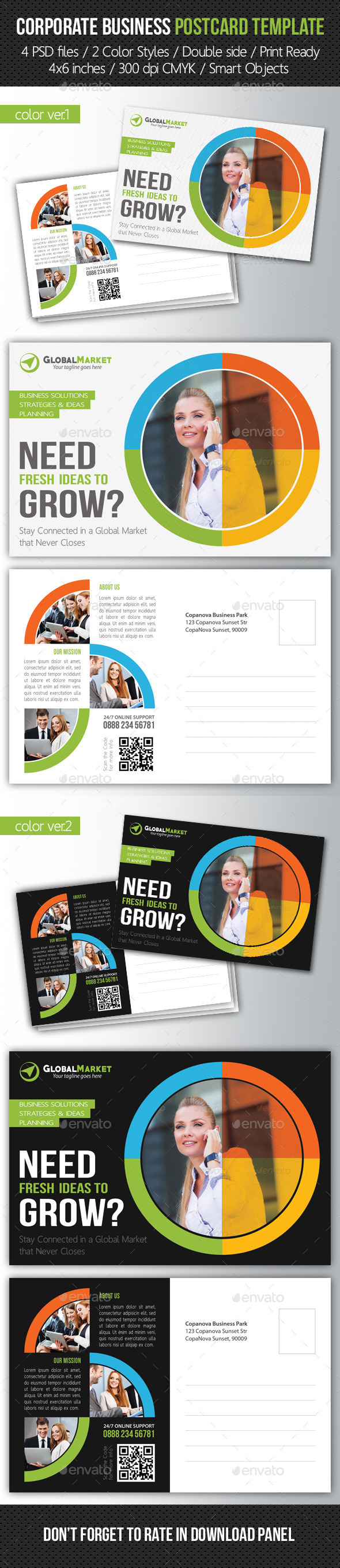 GraphicRiver Corporate Business Postcard Template V03 10253301