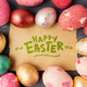 Easter eggs on wooden table with happy easter lettering. Holiday - PhotoDune Item for Sale