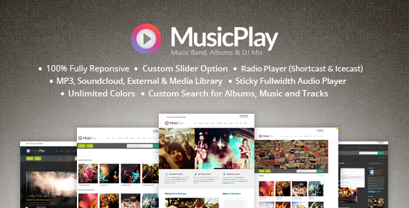 MusicPlay - Music & DJ Responsive WordPress Theme