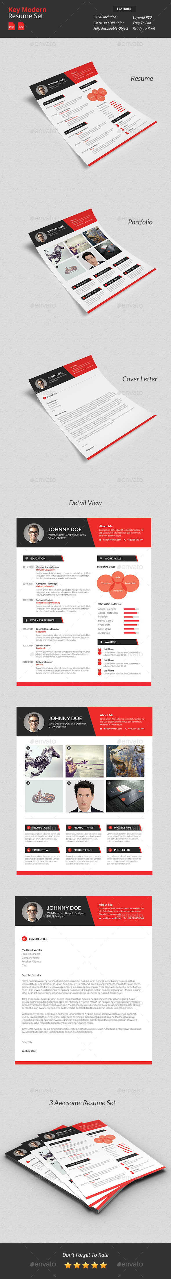 GraphicRiver Key Modern Resume Set 10253944