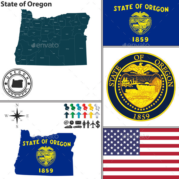 GraphicRiver Map of State Oregon USA 10254167