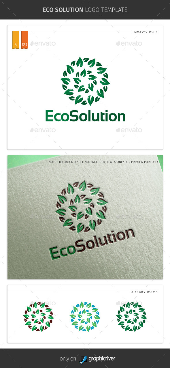 GraphicRiver Eco Solution Logo Template 10254334