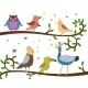 Singing Birds on Tree Branches - GraphicRiver Item for Sale