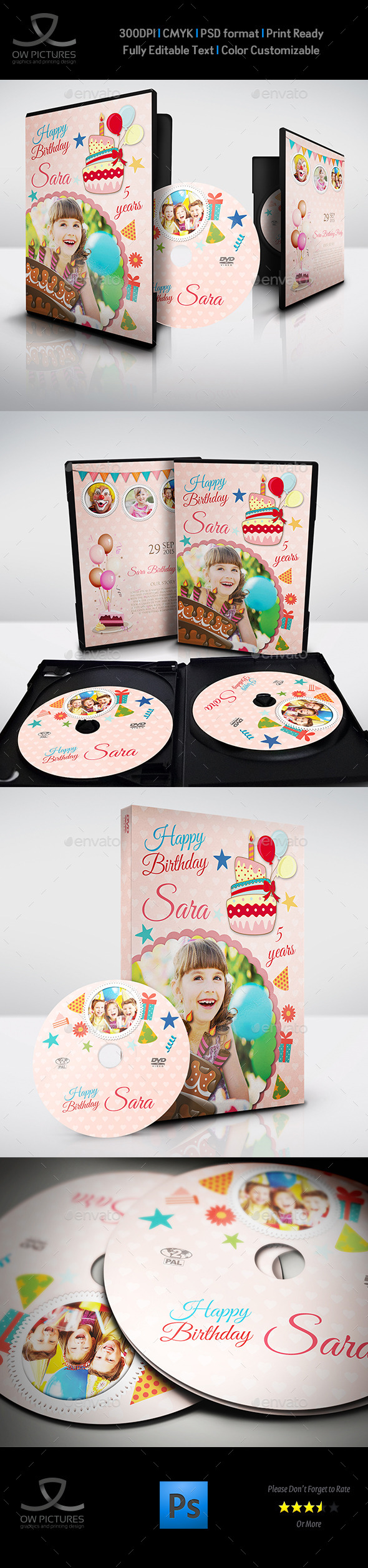 GraphicRiver Birthday Party DVD Cover and DVD Label Template 10255273