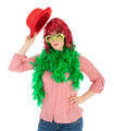 Woman in carnival costume with wig and bowler - PhotoDune Item for Sale